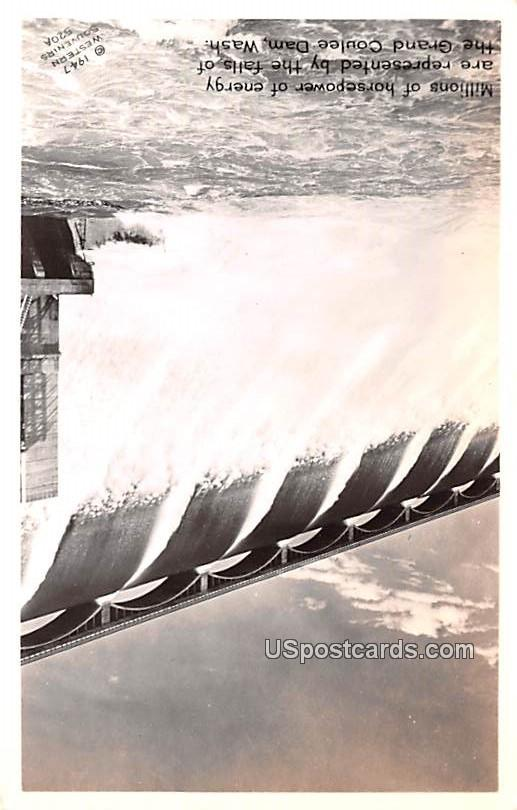 Millions of horsepower of Energy - Grand Coulee Dam, Washington WA Postcard