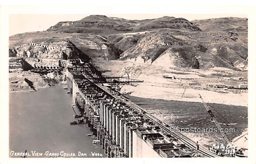 General View - Grand Coulee Dam, Washington WA Postcard