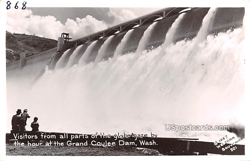 Visitors from all parts of the globe gaze - Grand Coulee Dam, Washington WA Postcard