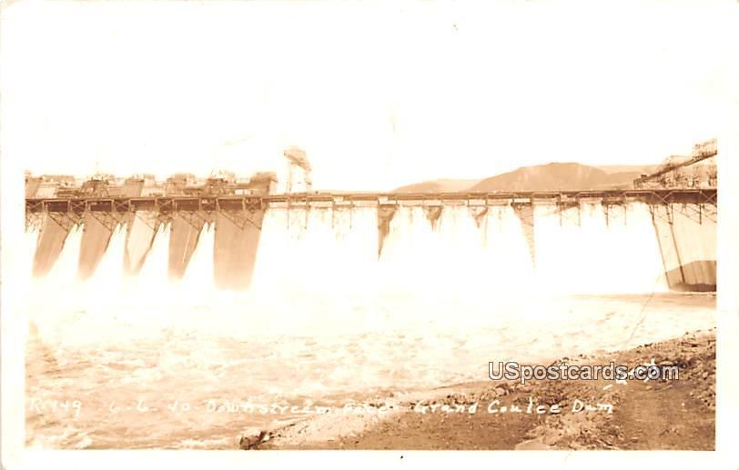 Down Stream - Grand Coulee Dam, Washington WA Postcard