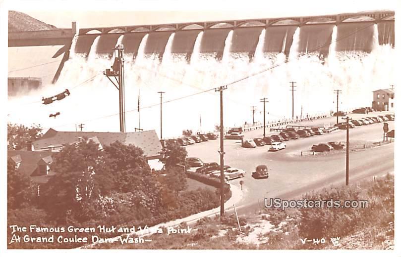 Green Hut and Vista Point - Grand Coulee Dam, Washington WA Postcard