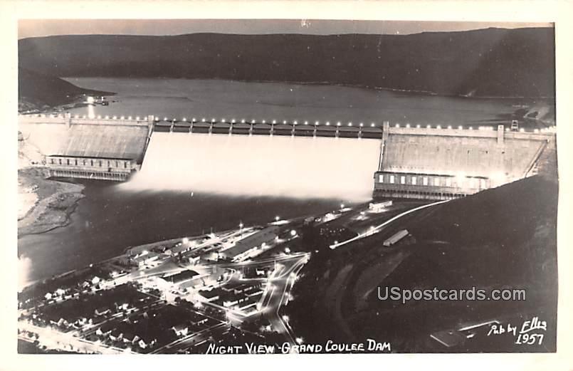 Night View - Grand Coulee Dam, Washington WA Postcard