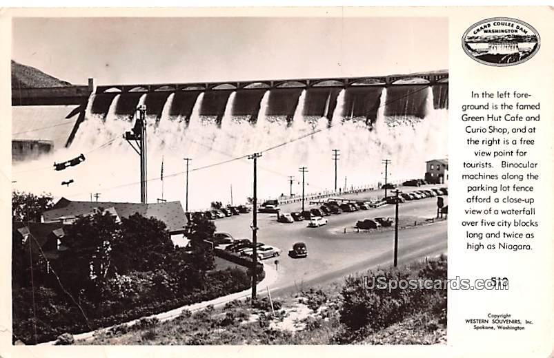 Green Hut Caf» and Curio Shop - Grand Coulee Dam, Washington WA Postcard