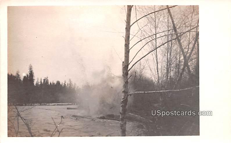 Blasting Logs - Humptulips, Washington WA Postcard