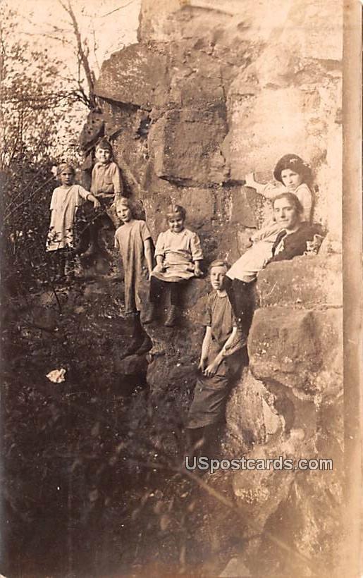 Family on Rocks - Hatton, Washington WA Postcard