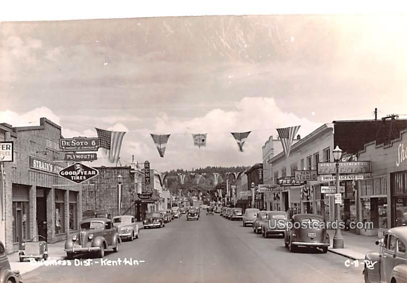 Business District - Kent, Washington WA Postcard