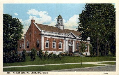 Public Library - Longview, Washington WA Postcard
