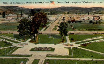 Center Park - Longview, Washington WA Postcard