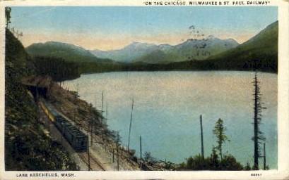 Milwaukee & St. Paul Railway - Lake Keechelus, Washington WA Postcard