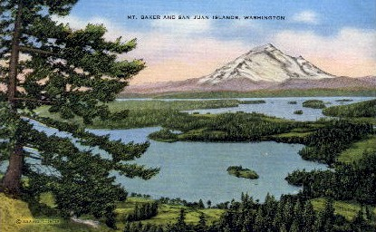 San Juan Islands - Mount Baker, Washington WA Postcard
