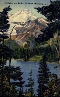 Reflection Lake - Mount Baker, Washington WA Postcard