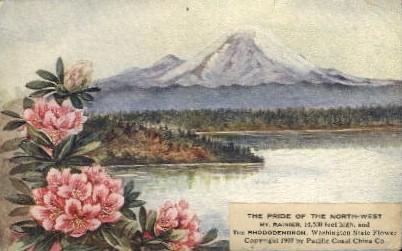 Mt. Ranier and Rhododendron - Mt. Rainer National Park, Washington WA Postcard