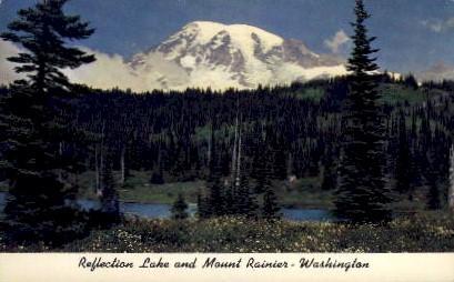 Reflection Lake - Mt. Rainer National Park, Washington WA Postcard