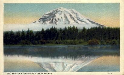 Mt. Ranier mirrored in Lake Spanaway - Mt. Rainer National Park, Washington WA Postcard