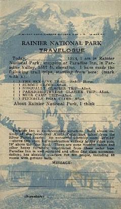Ranier National Park Travelodge - Mt. Rainer National Park, Washington WA Postcard