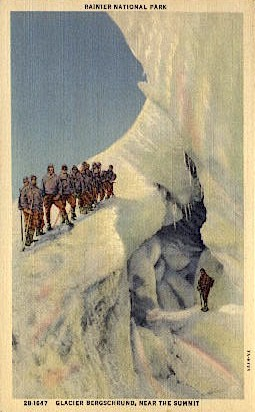 Glacier Bergshrund - Mt. Rainer National Park, Washington WA Postcard
