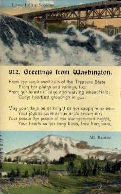 Greetings From - Mt. Rainer National Park, Washington WA Postcard