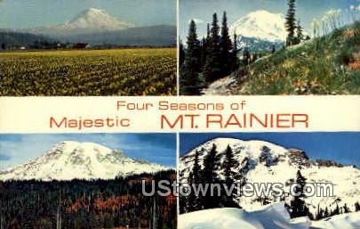 Four Seasons - Mt Rainier, Washington WA Postcard