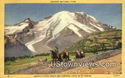 Saddle Horse Party, Sunrise Lodge - Rainier National Park, Washington WA Postcard