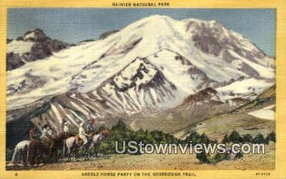 Saddle Horse Party, Sunrise Lodge - Rainier National Park, Washington WA Postcard