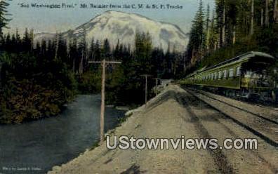 C.M & St. P Tracks - Mt Rainier, Washington WA Postcard
