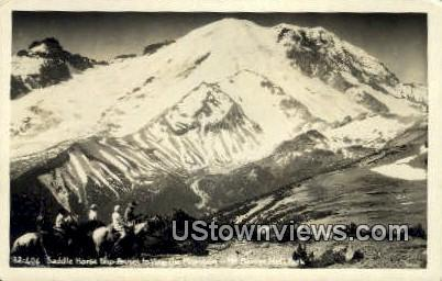 Real Photo - Saddle Horse - Mt. Rainier National Park, Washington WA Postcard