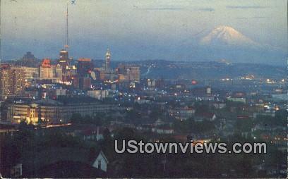 Wueen Anne Hill - Mt Rainier, Washington WA Postcard