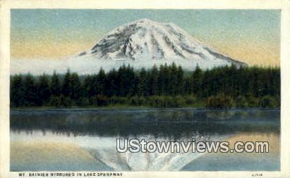 Lake Spanaway - Mt Rainier, Washington WA Postcard