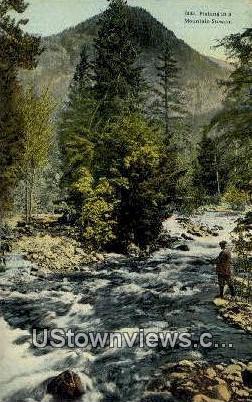 Fishing - Mt Rainier, Washington WA Postcard
