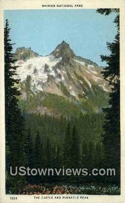 Castle & Pinnacle Peak - Rainier National Park, Washington WA Postcard