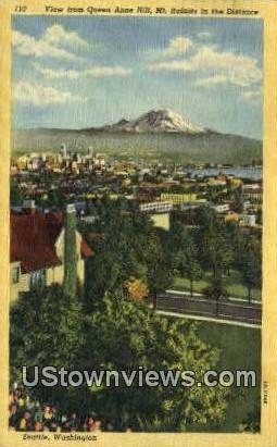 Queen Anne Hill - Mt Rainier, Washington WA Postcard