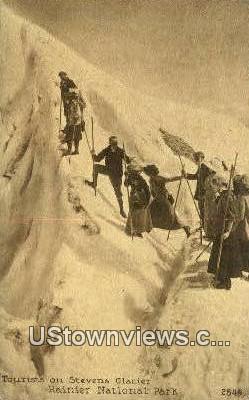 Mountain Climbing Stevens Glacier - Rainier National Park, Washington WA Postcard