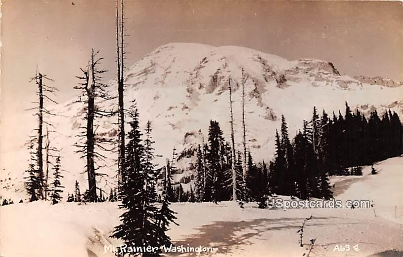 Winter Scene - Mount Rainier, Washington WA Postcard