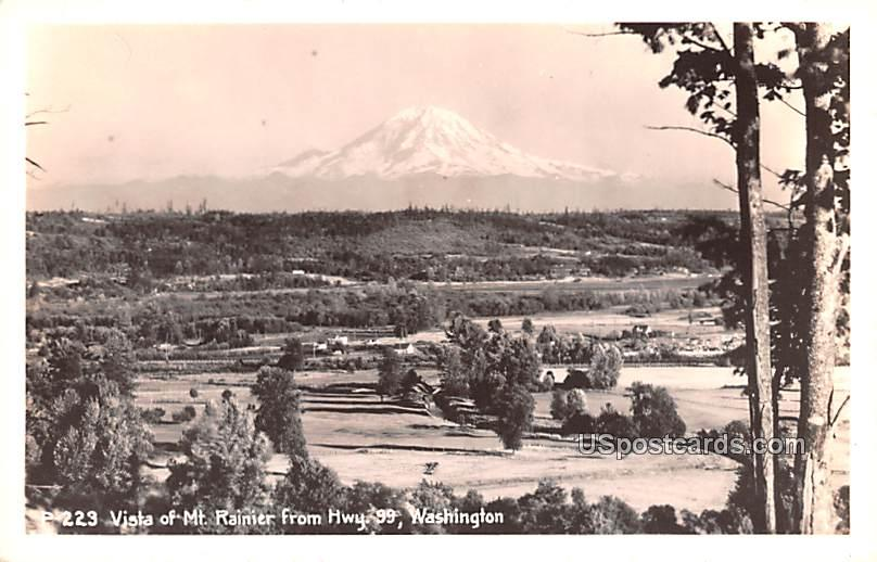 Vista of Mt Rainier off Highway 99 - Mount Rainier National Park, Washington WA Postcard