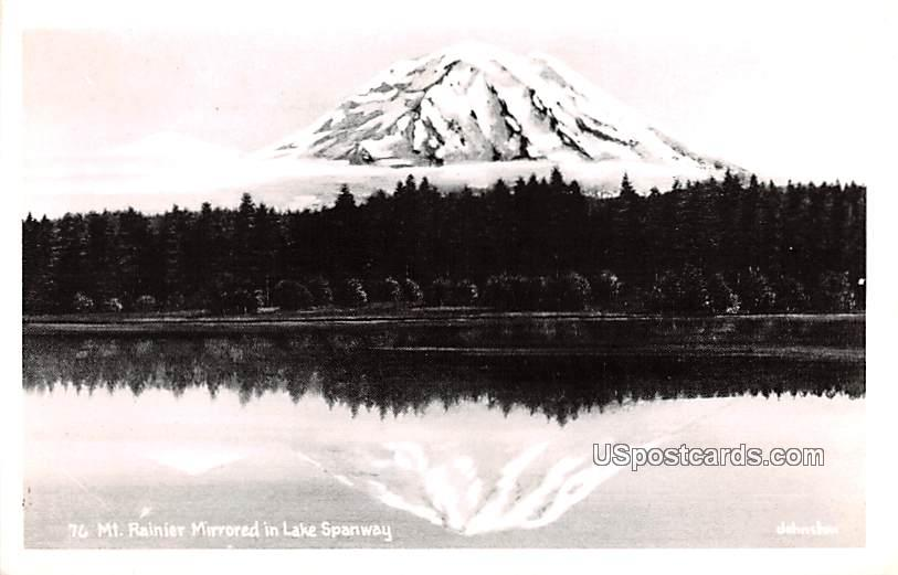 Mirrored in Lake Spanway - Mount Rainier, Washington WA Postcard
