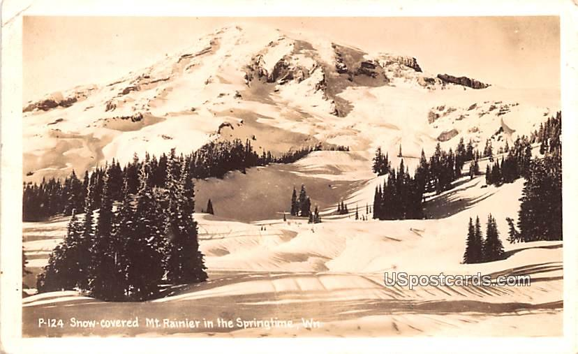 Snow Covered in Springtime - Mount Rainier, Washington WA Postcard