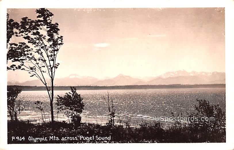 Across Puget Sound - Olympic Mountains, Washington WA Postcard