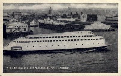 Streamlined Ferry - Puget Sound, Washington WA Postcard