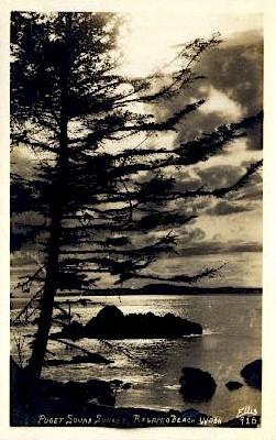 Puget Sound Sunset - Rosario Beach, Washington WA Postcard