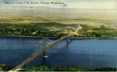 Narrows Bridge and Mt. Rainier - Tacoma, Washington WA Postcard