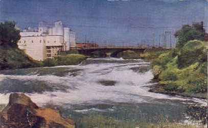 Upper Cataracts of Spokane River - Washington WA Postcard