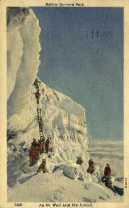 An Ice Wall Near the Summit - Rainier National Park, Washington WA Postcard