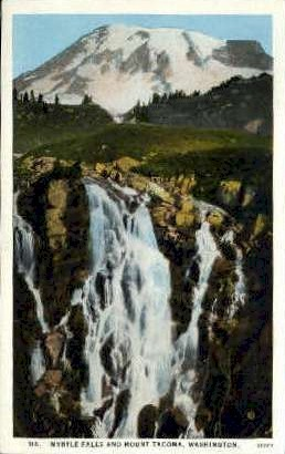 Myrtle Falls and Mt. Tacoma - Misc, Washington WA Postcard
