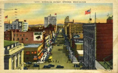 Riverside Ave. - Spokane, Washington WA Postcard