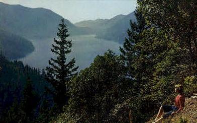 Lake Crescent, Storm King Mountain - Olympic National Park, Washington WA Postcard