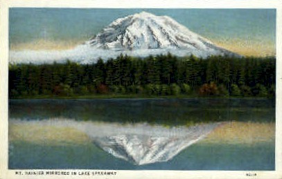 Mt. Rainier, Lake Spanaway - Mt Rainier, Washington WA Postcard