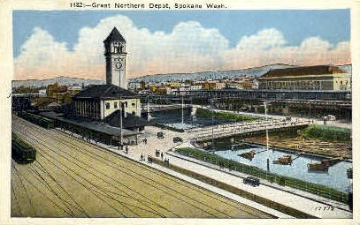 Great Northern Depot - Spokane, Washington WA Postcard