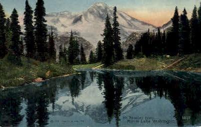 Mt Rainier from Mirror Lake - Washington WA Postcard