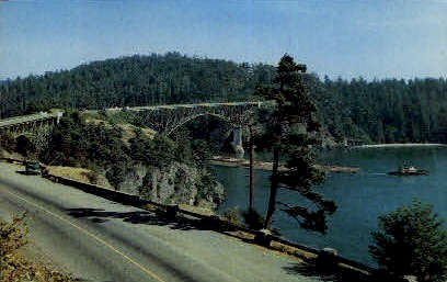 Canoe and Deception Pass - Misc, Washington WA Postcard