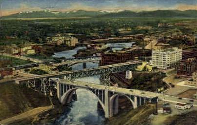 Seven Bridges & Five Waterfalls - Spokane, Washington WA Postcard
